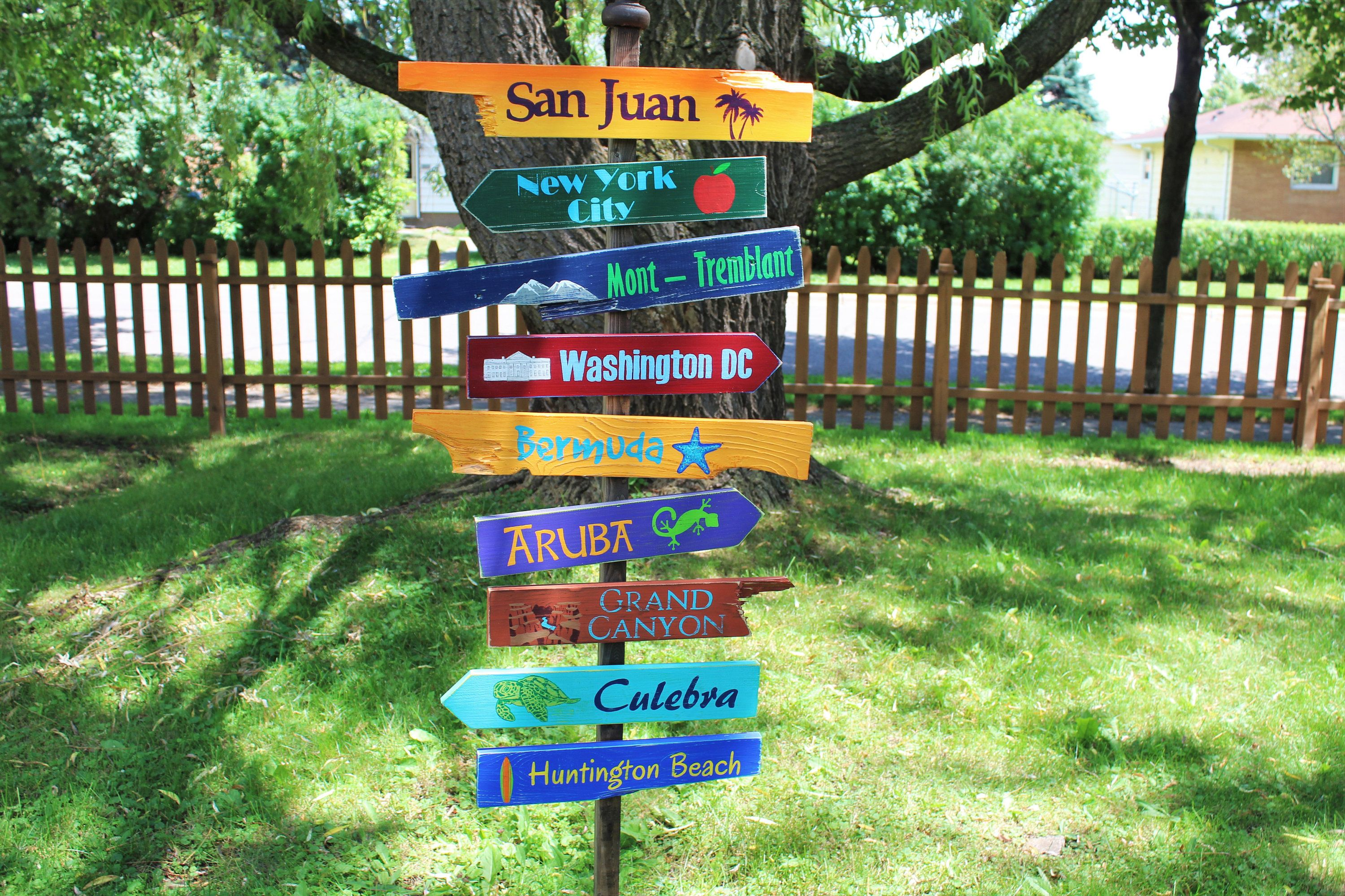 Hand Painted Wooden Sign New York City Directional
