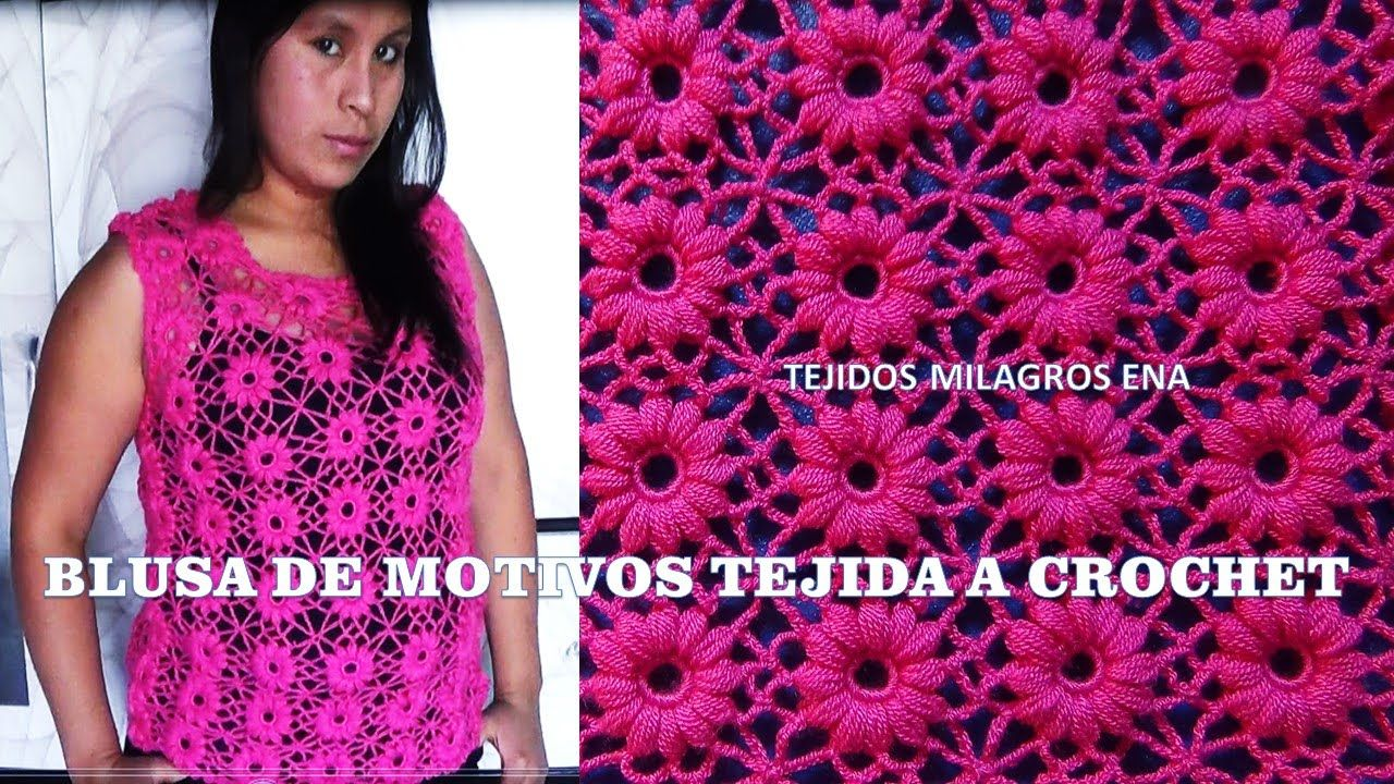 Blusa Rosada tejida con motivos a crochet - TEJIDOS MILAGROS ENA ...