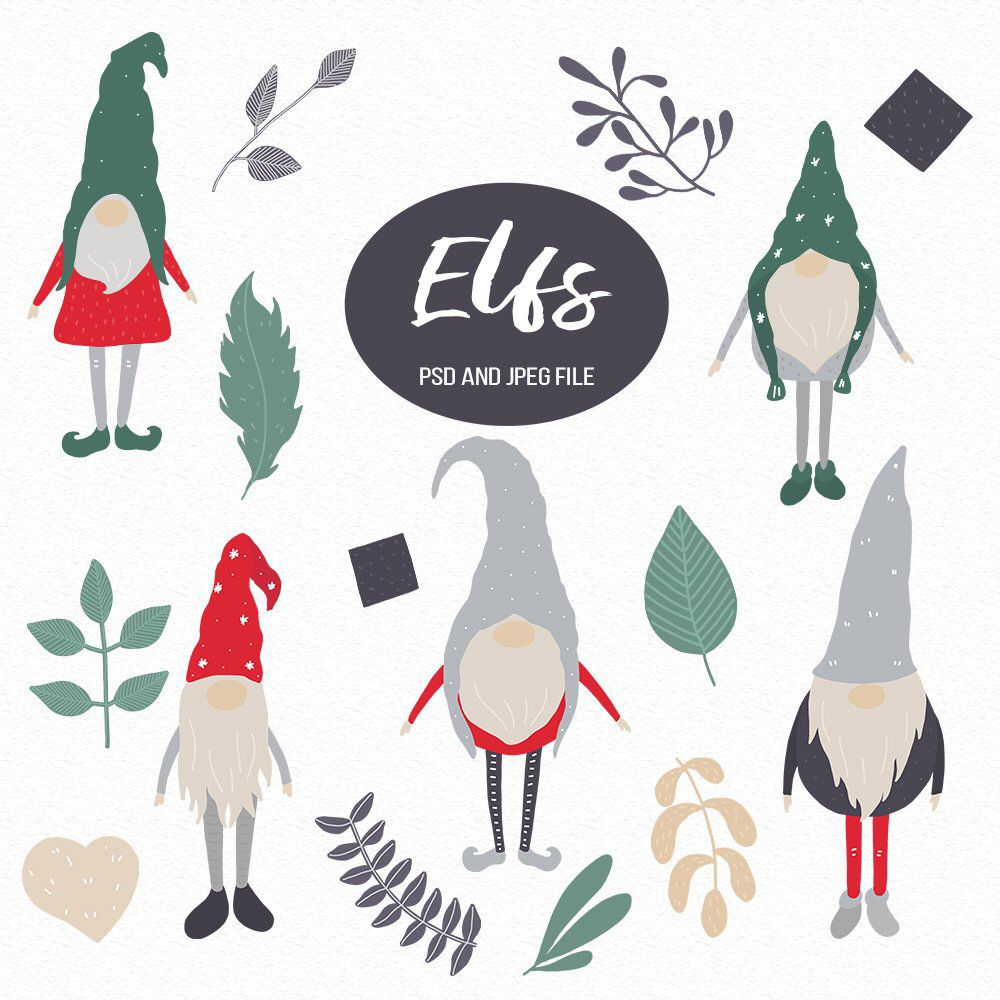 Christmas Illustrations Png.Elfs Illustrations Leaves Clipart Green Leaves Gnome