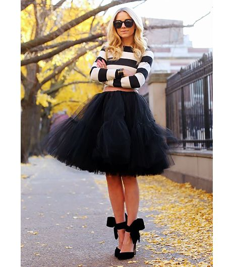 @Who What Wear - Blair Eadie of Atlantic-Pacific  The skirt takes on a Parisian vibe when paired with a striped sweater and ribbon-tie heels.  On Eadie: ASOS skirt; Arden B top; Aminah Abdul Jillil shoes.