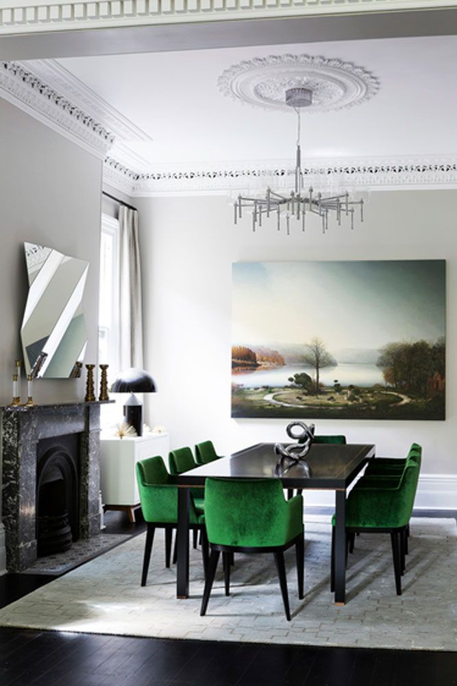 Kelly green chairs pop in neutral setting