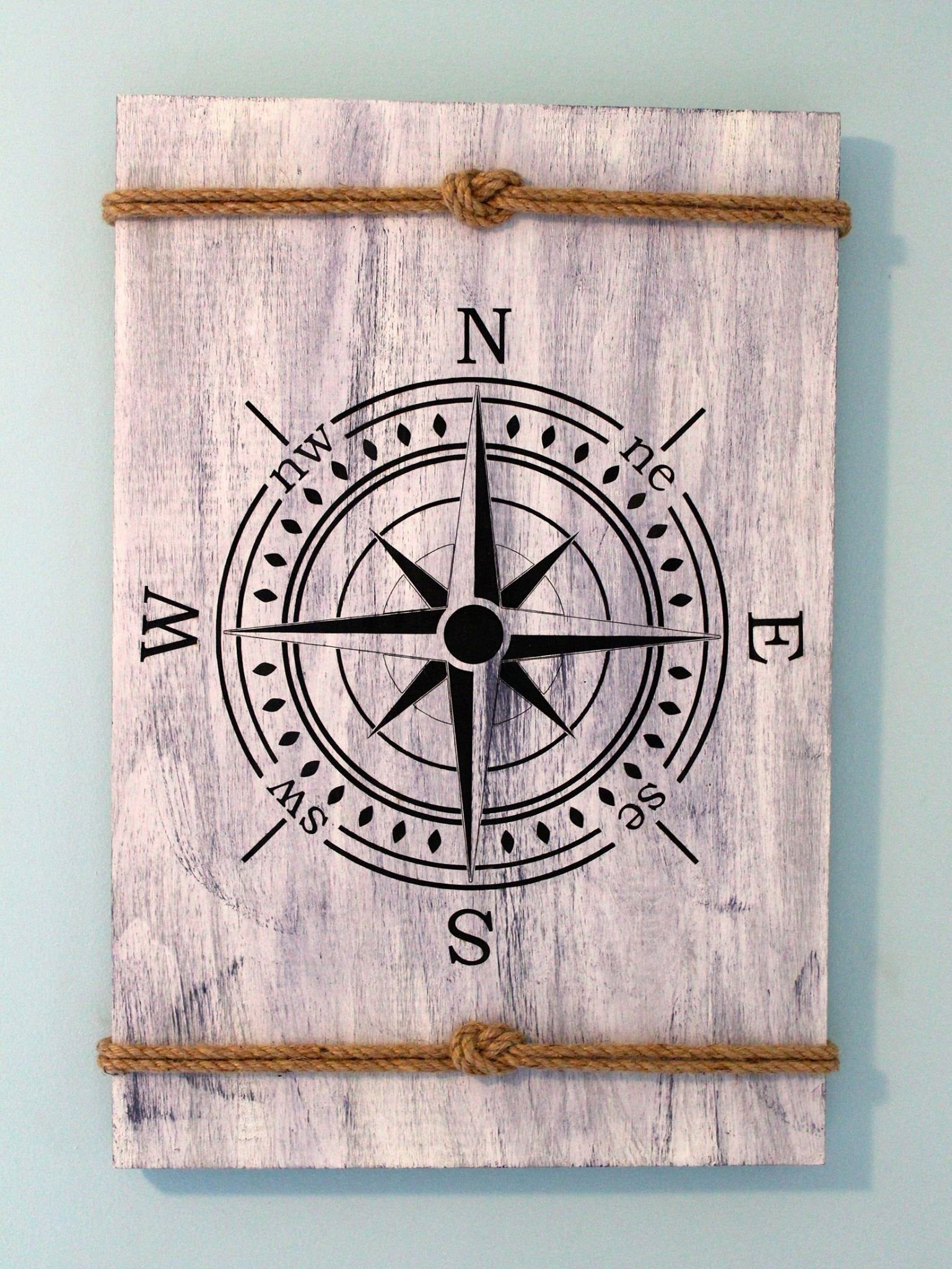 Photo of Nautical Laser Etched Compass Rose Sign – 20″x30″ Birchwood Sign
