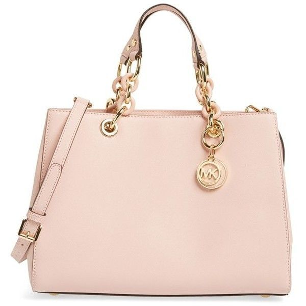 b23a83faf47c30 MICHAEL Michael Kors 'Cynthia' Saffiano Leather Satchel ($209) ❤ liked on  Polyvore featuring bags, handbags, pastel pink, chain handle handbags, ...