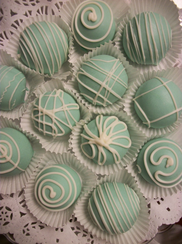 Blue Cake Balls 24 Count Wedding Favors