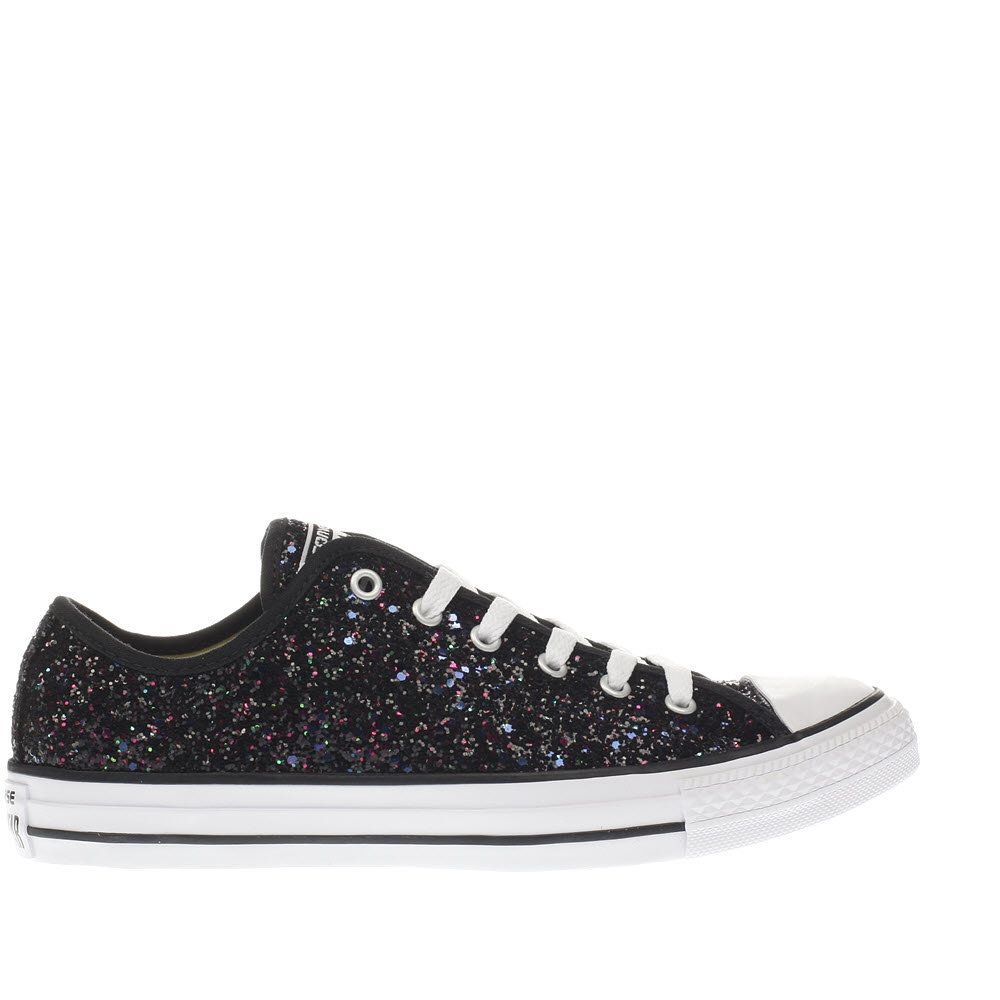 23409181fcc8 Womens Black   Purple Converse All Star Glitter Ox Trainers