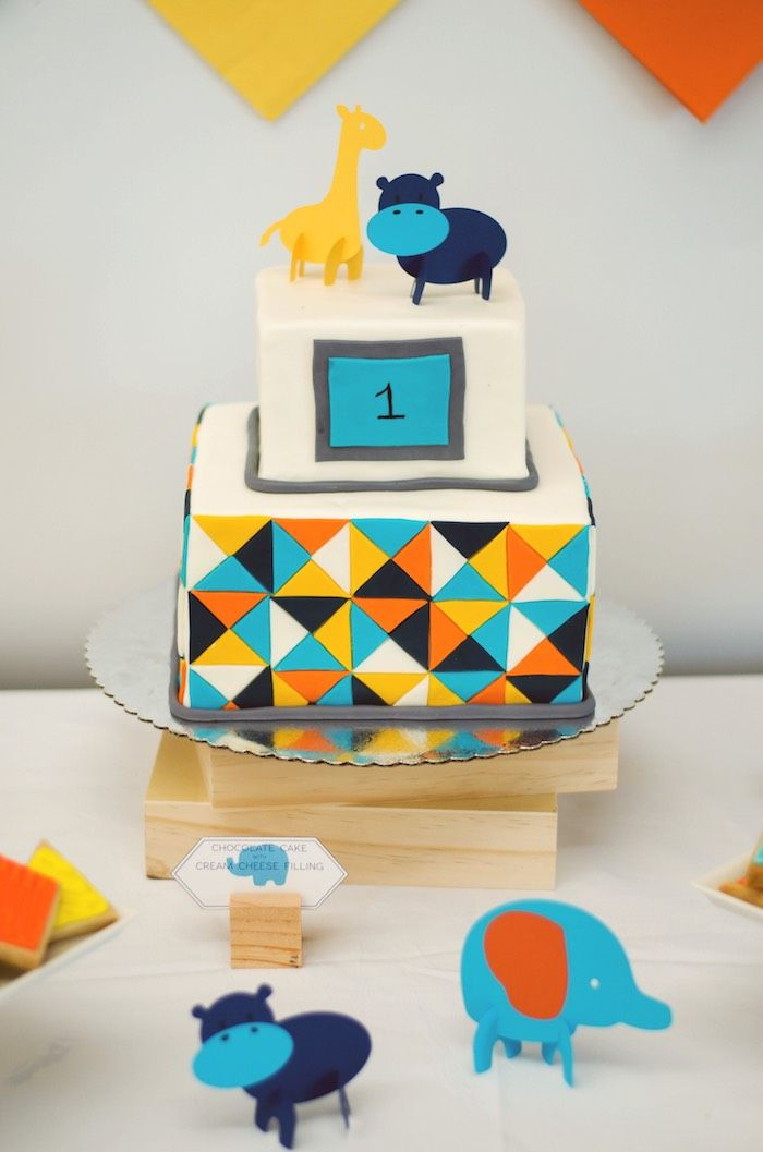Modern Geo Menagerie themed first birthday party via Karas Party