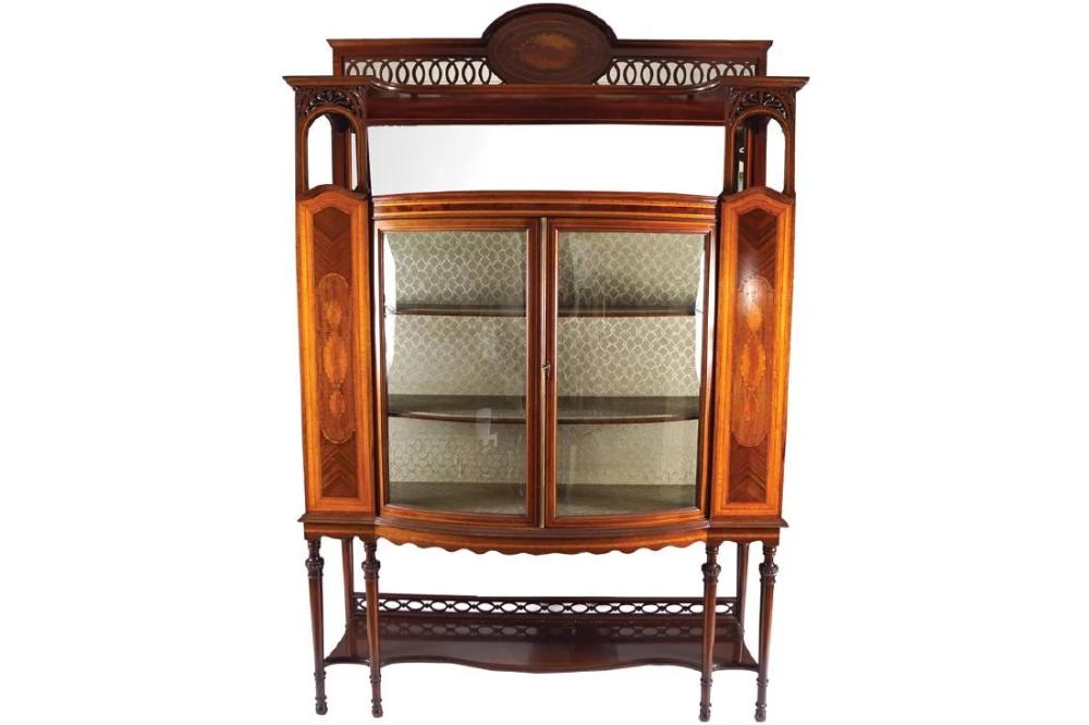 Edwardian period mahogany and satinwood inlaid display #edwardianperiod