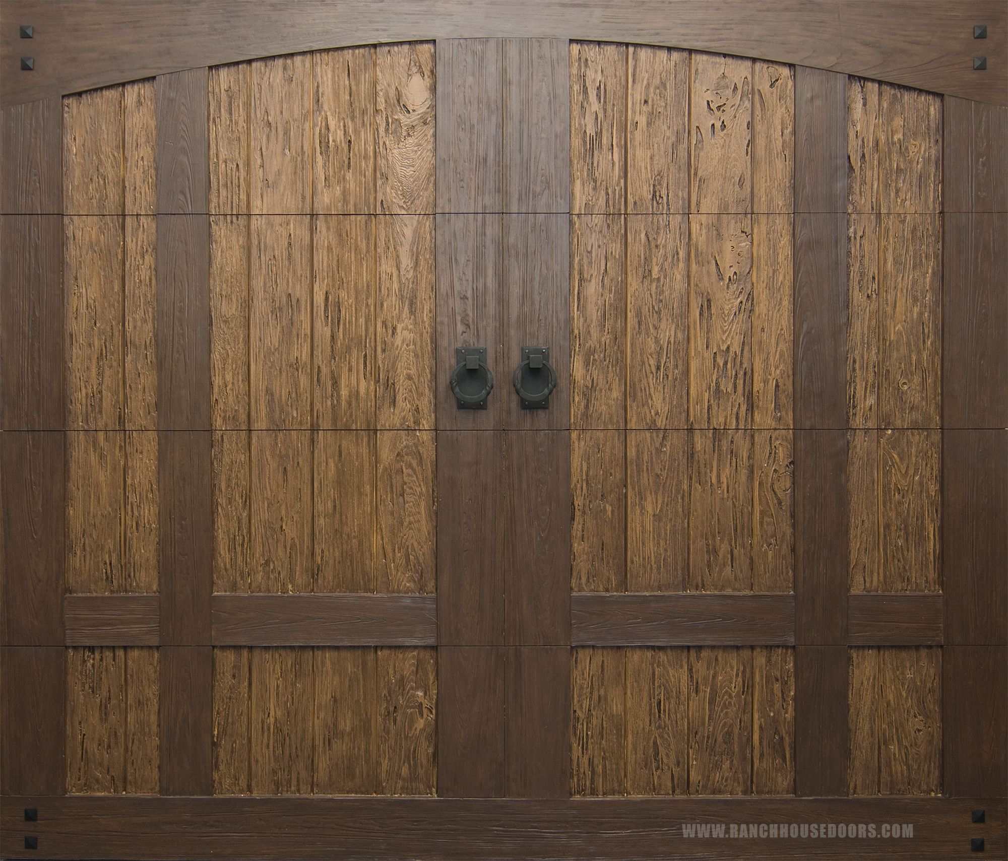 Www Faux Wood Garage Doors Com Ranch House Doors Model 303 Two Tone Elements Collection Faux Wood Garage Door Faux Wood Garage Door House Doors Ranch House