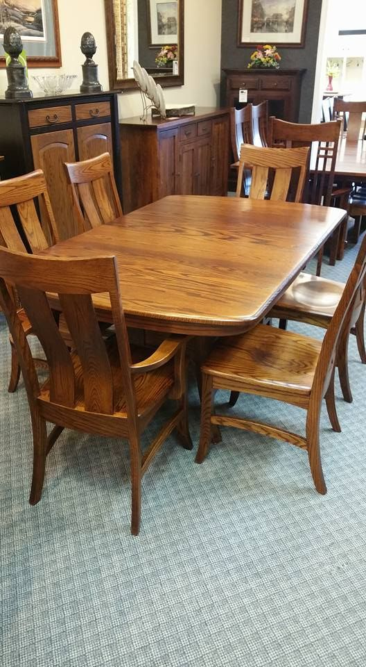 42 x 66 galveston double pedesal table made in oak wood american rh pinterest com