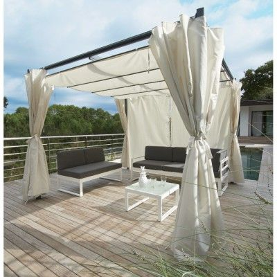 tonnelle carr e rome toit r tractable avec rideaux cru 8 12 m auvant canopy pergola. Black Bedroom Furniture Sets. Home Design Ideas