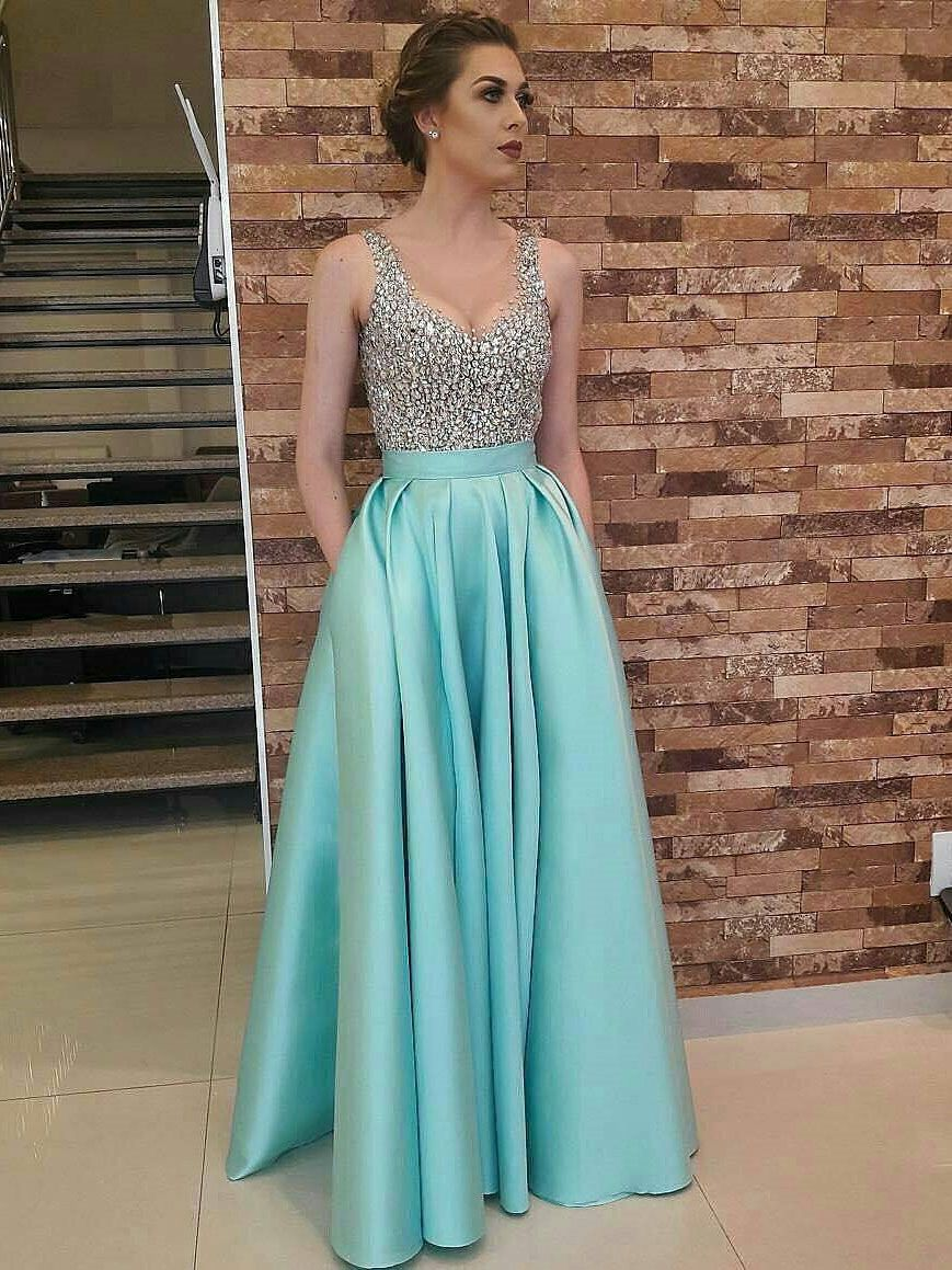 Aline vneck floorlength satin sequined sexy prom dress from
