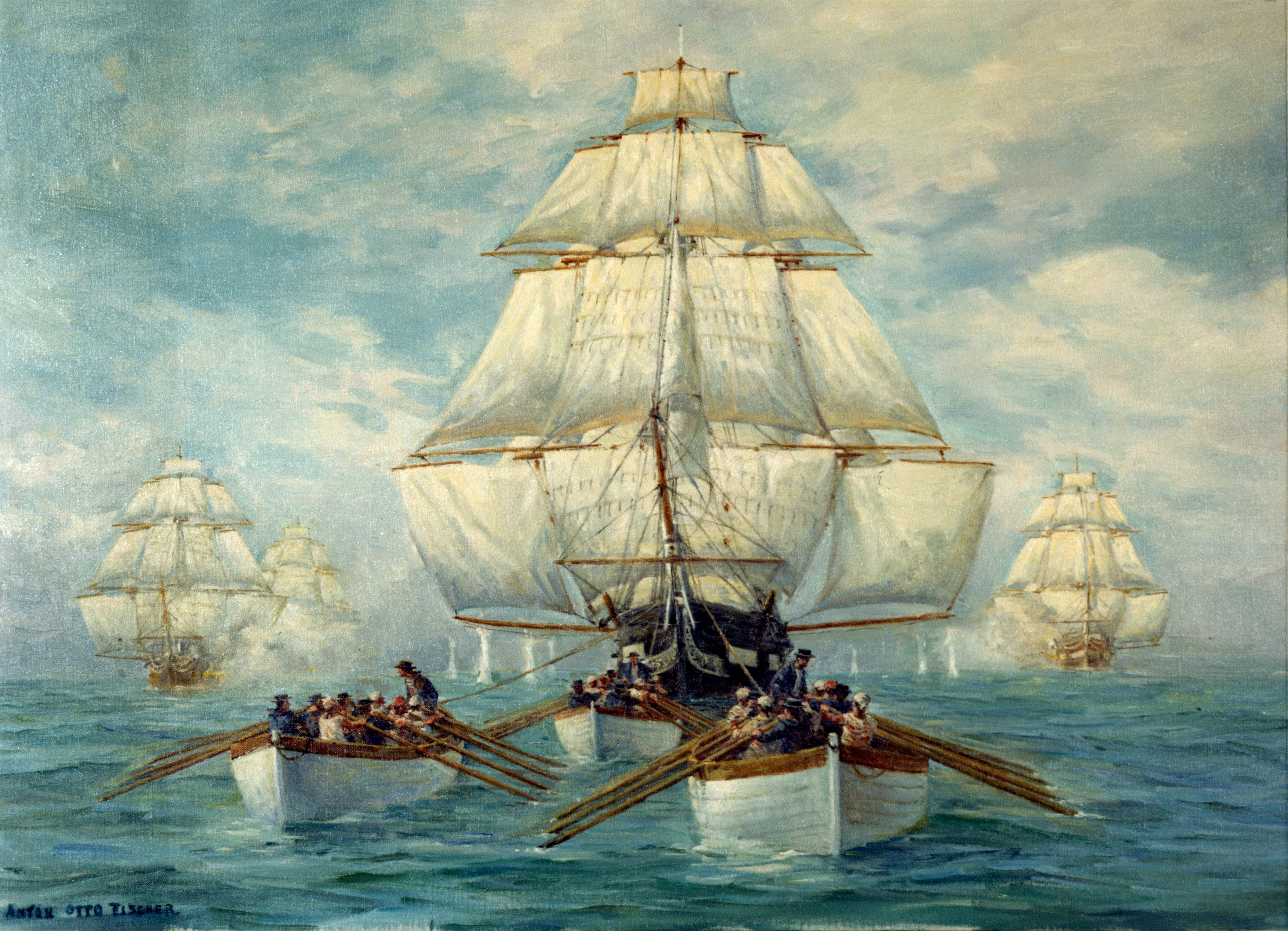 Anton Otto Fischer the boats of USS Constitution towingUss Constitution 1812