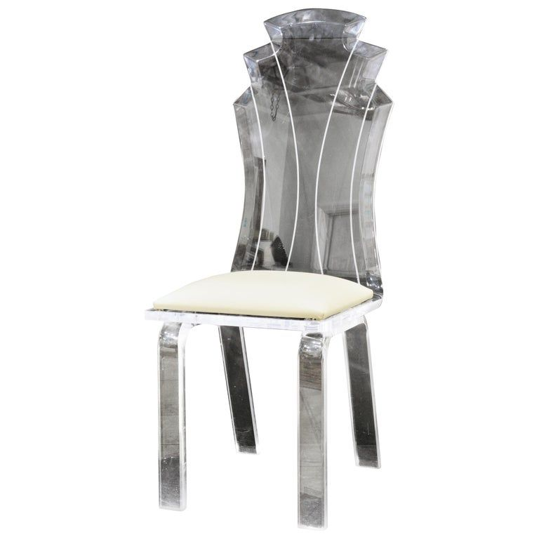 Set of Six Art Deco Style Mid-Century Modern Lucite Fan Back Dining Chairs#art #chairs #deco #dining #fan #lucite #midcentury #modern #set #style