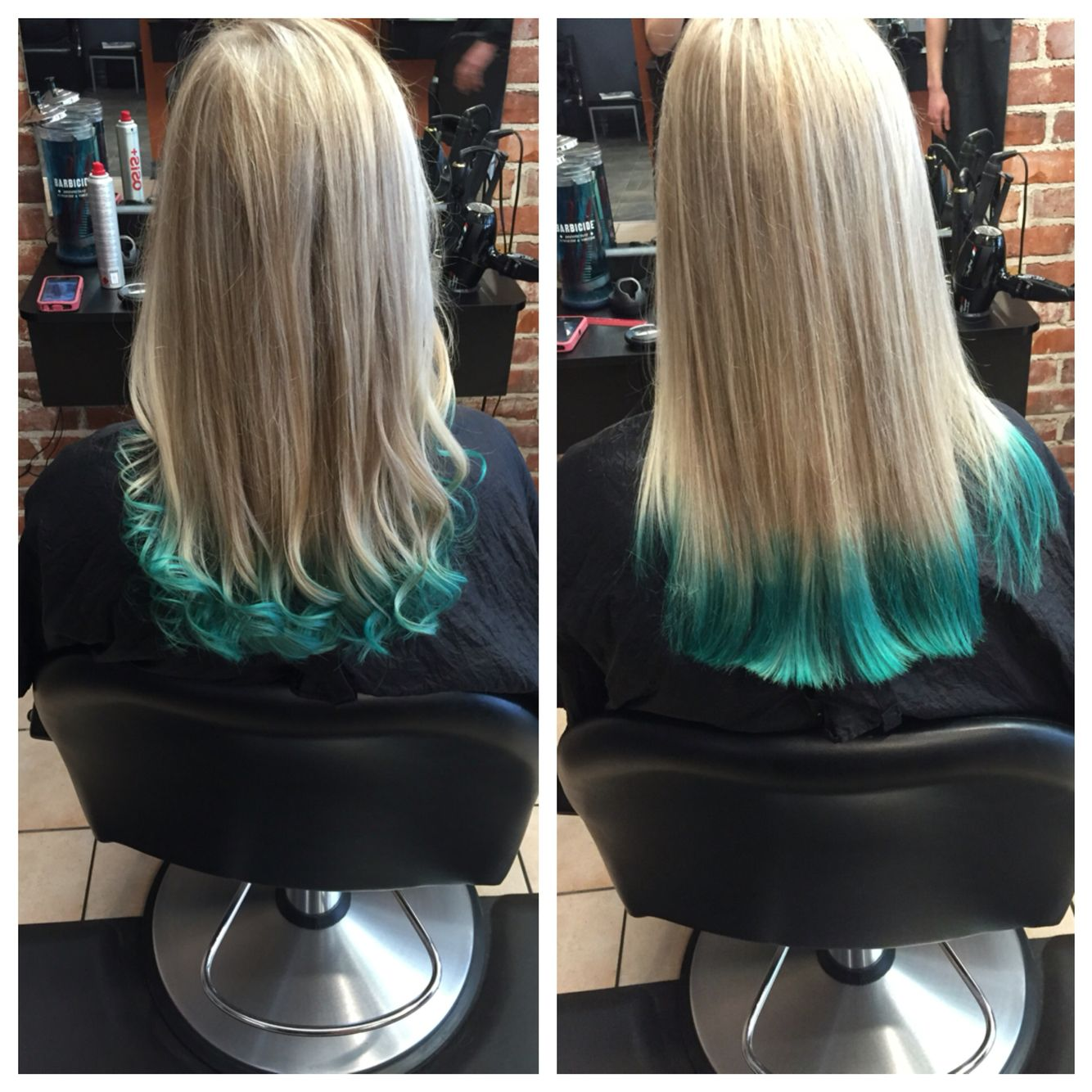 Teal Green Balayage Tips On Blonde Hair Blue Tips Hair Blue