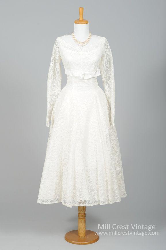 1950 Lace Floral Vintage Wedding Dress | Hochzeitskleider