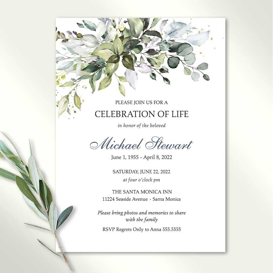 Funeral Invitation For Man Template with Greenery and Pale Blue