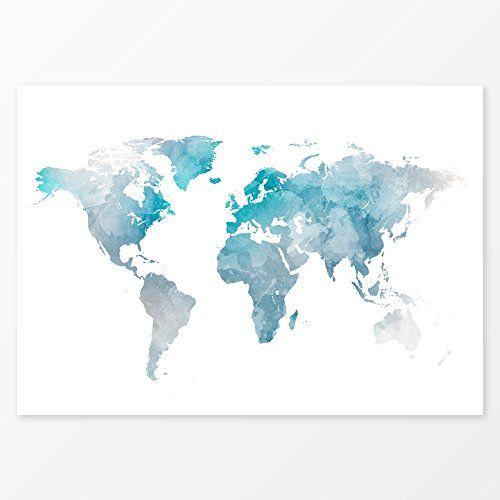 Blue watercolor world map wall art size 11x14 travel ma https blue watercolor world map wall art size 11x14 travel ma https gumiabroncs Choice Image