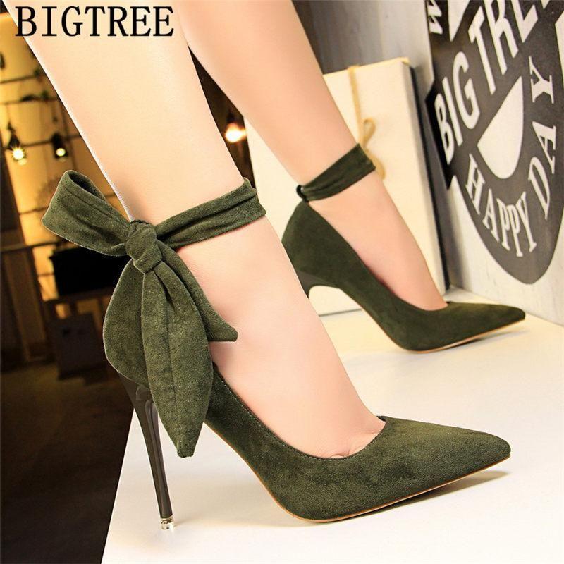 Dress Shoes Women Stiletto Moccasin Bigtree Shoes Butterfly Knot New Green Shoes For Women Luxury High Heels Buty Suede Shoes Women Cute High Heels Heels