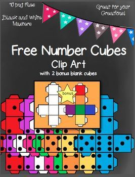 free number cubes clip art with two bonus blank cubes 10 png images rh pinterest com