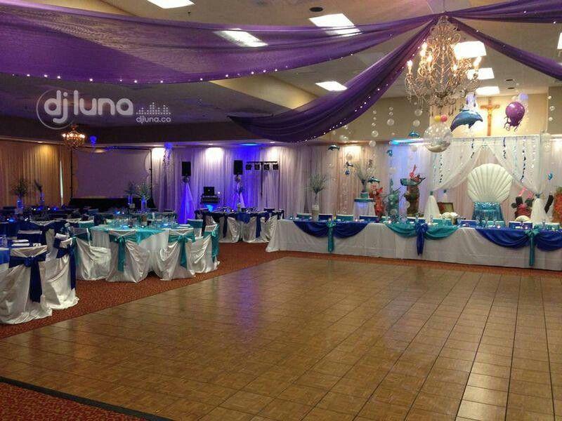 diy beach theme wedding centerpieces%0A Purple and teal hall decor perfect sense my theme is peacock