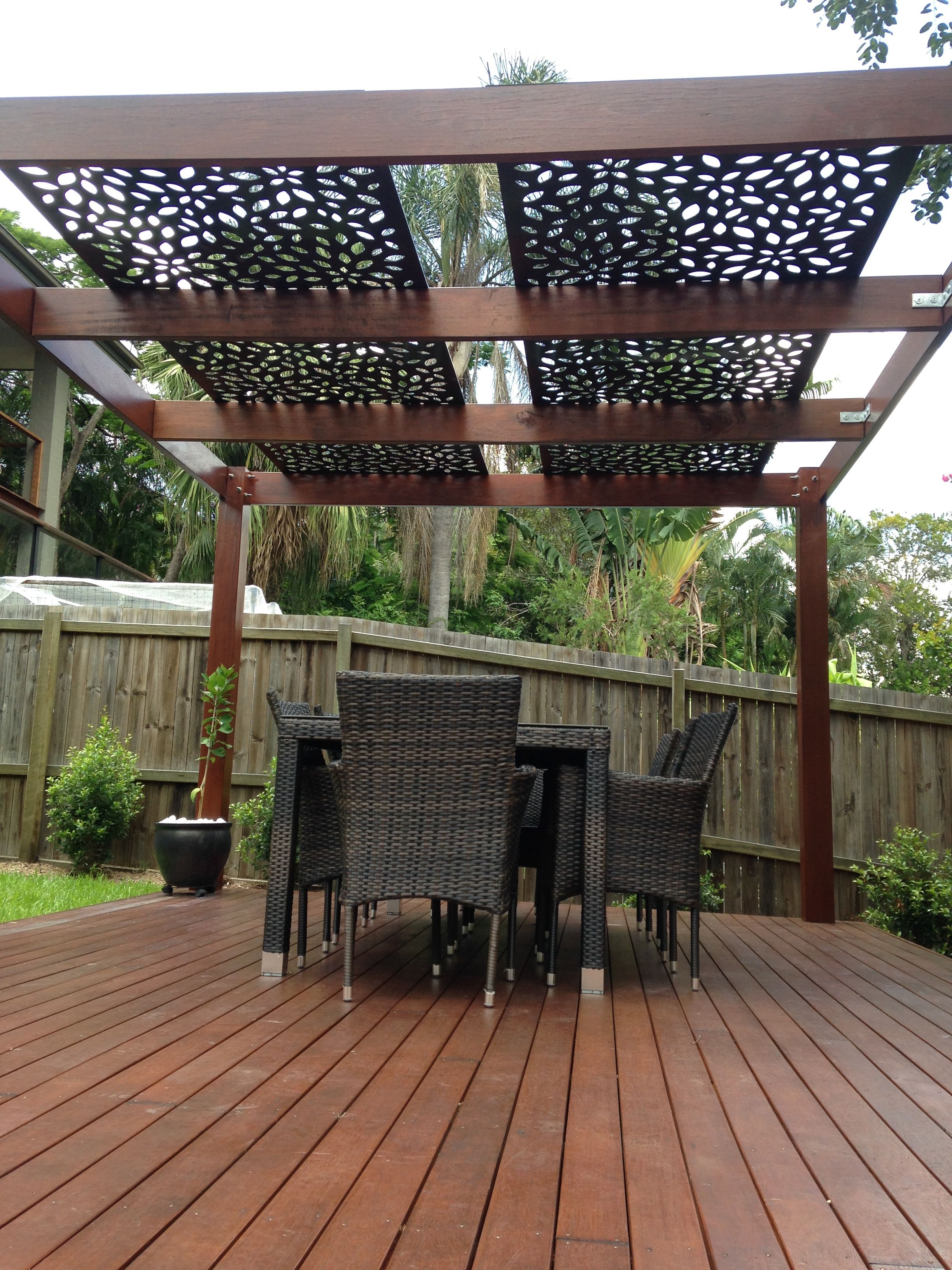 decorative screening on pergola roof privacy screens. Black Bedroom Furniture Sets. Home Design Ideas