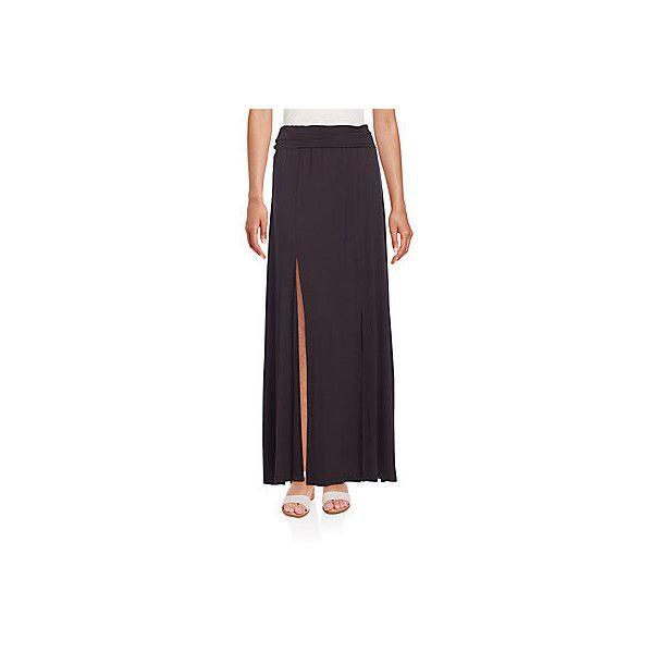 BCBGMAXAZRIA Slip Jersey Maxi Skirt ($45) ❤ liked on Polyvore featuring skirts, black, jersey maxi skirt, long floor length skirts, long jersey skirt, ruched maxi skirt and long skirt slip
