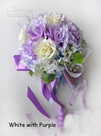 White With Purple Wedding Bouquet Artificial Flowers Bouquet ...