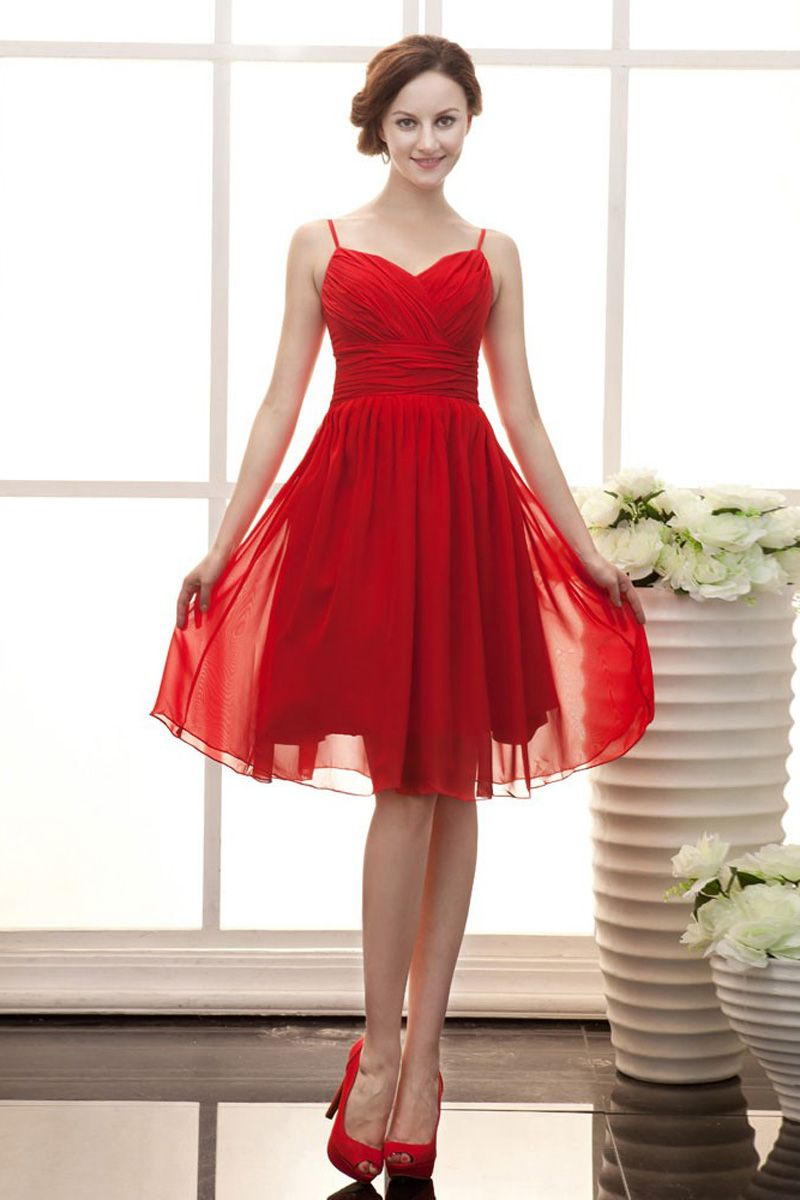 Aline short spaghetti straps red chiffon cocktail dress robes
