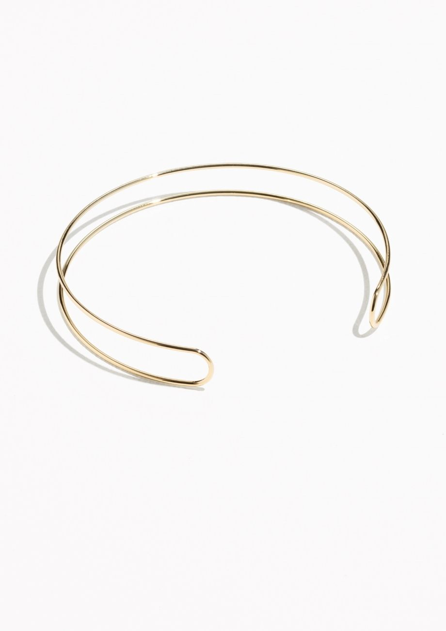 & Other Stories Tubular Wire Choker in Gold