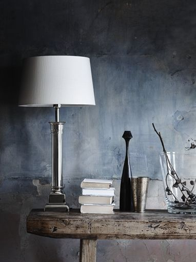 Neptune imperial column lamp silver grey shade