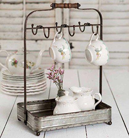 Vintage Rustic Galvanized Tabletop Mug Rack Tea Cup Hook basket Jewelry display