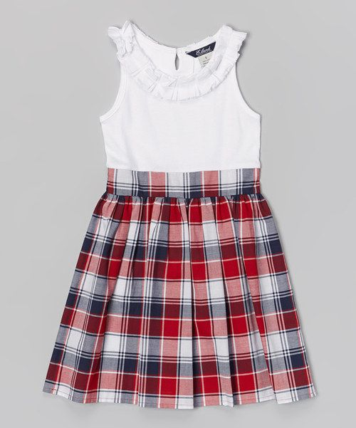 Love this White & Red Plaid Phoebe Dress - Toddler & Girls by E-Land Kids #zulilyfinds