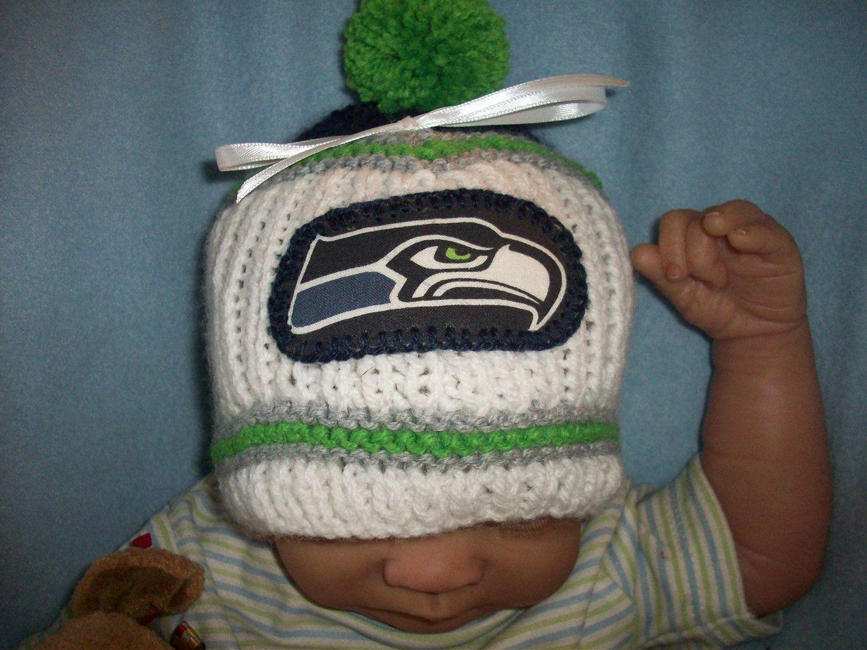 Custon Handmade NFL SEATTLE SEAHAWKS Baby Hat  Beanie in Team Colors.   25.99 c942d2dd902