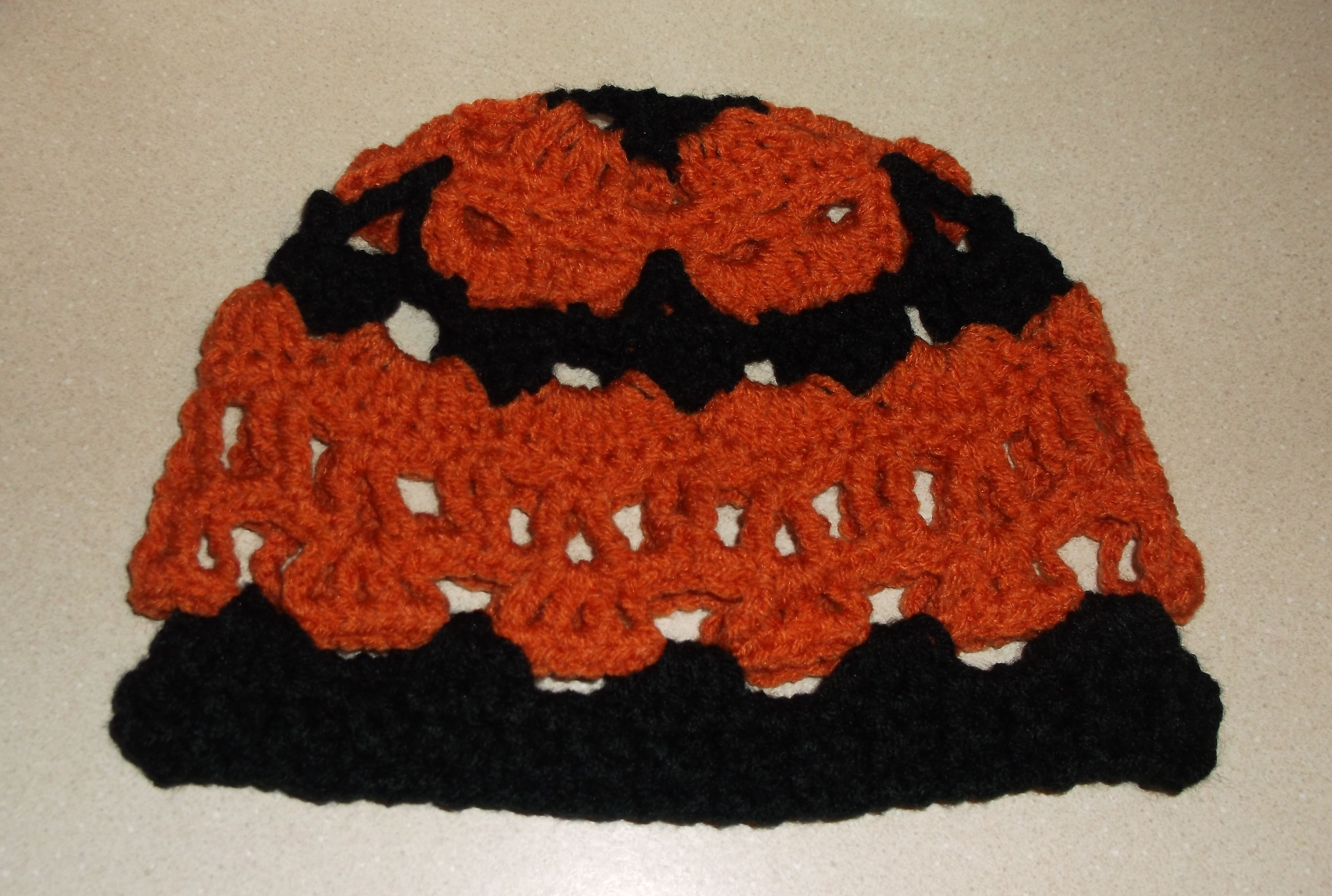 Creepy Skulls Crochet Hat Harley Davidson Colors Black And Orange