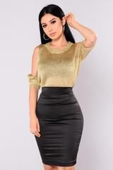 Available In Rose Gold and Gold Cold Shoulder Short Sleeve Metallic 100% Polyester
