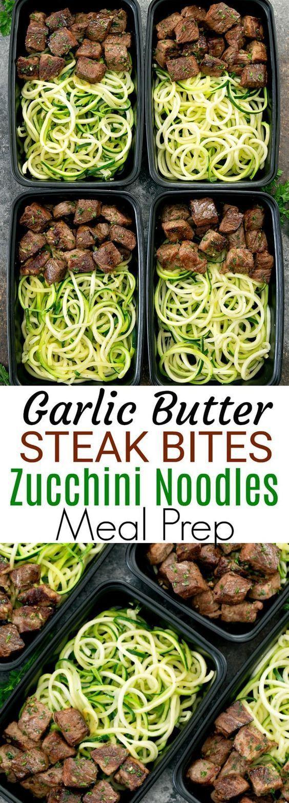 Garlic Butter Steak Bites with Zucchini Noodles Meal Prep Garlic Butter Steak Bites with Zucchini Noodles Meal Prep