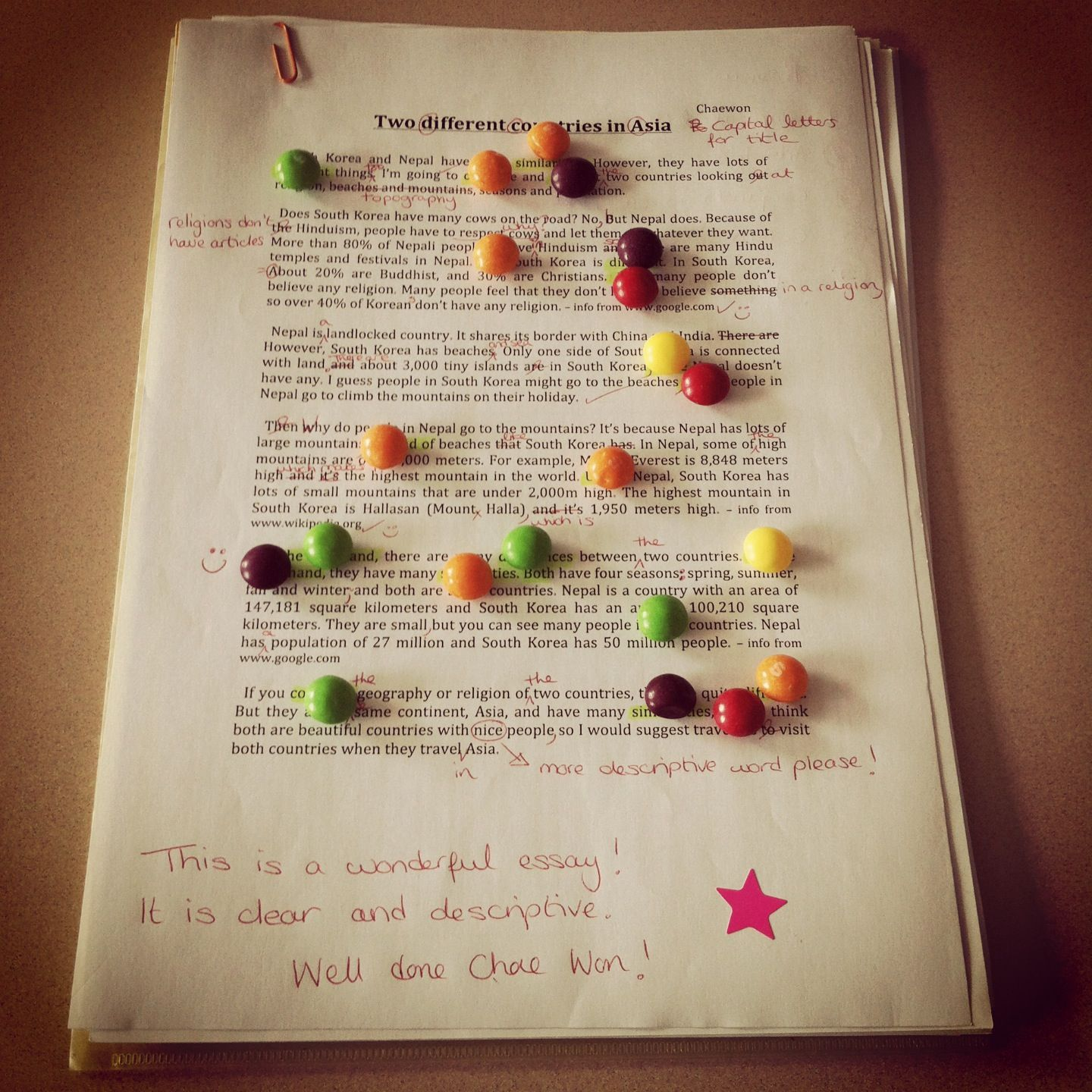A Skittle For Each Transitional Word Used In A Compare