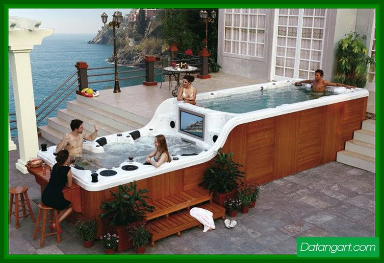 Above ground pool with deck and hot tub design idea for Hot tub designs and layouts