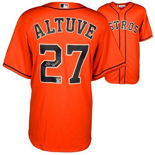 finest selection bb0af babe5 Jose Altuve Houston Astros Autographed Orange Replica Jersey ...