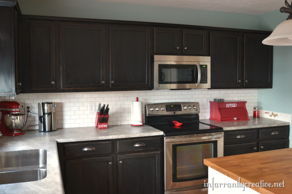 subway tile backsplash - Kitchen Backsplash With Dark Cabinets