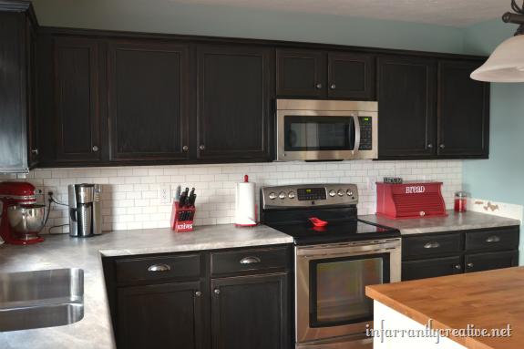 Subway Tile Backsplash Laminate Kitchen Cabinets Trendy Kitchen