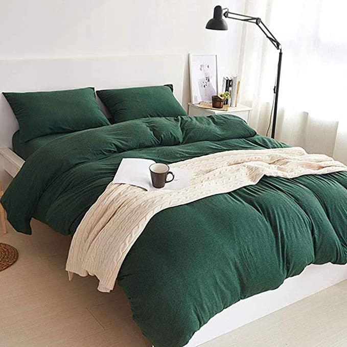 Amazon Com Doneus Jersey Knit Cotton Duvet Cover Set 3 Pieces Full Duvet Cover And Pillow Shams Ultra S Green Duvet Covers Green Duvet Green Comforter Bedroom