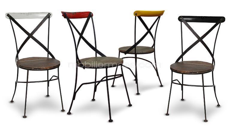 Chaise industrielle bistrot m tal et bois color e for Chaises de couleur design