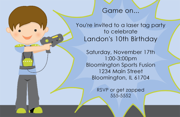 Laser Tag Birthday Invitations Ideas FREE For Donny