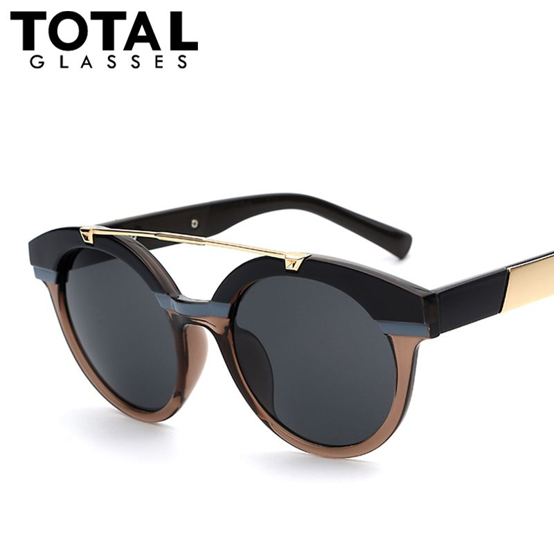 Totalglasses Women Round Circle Classic Twin-Beams Steampunk Sun Glasses Brand Designer Oval Shades Sunglasses Mirror UV400