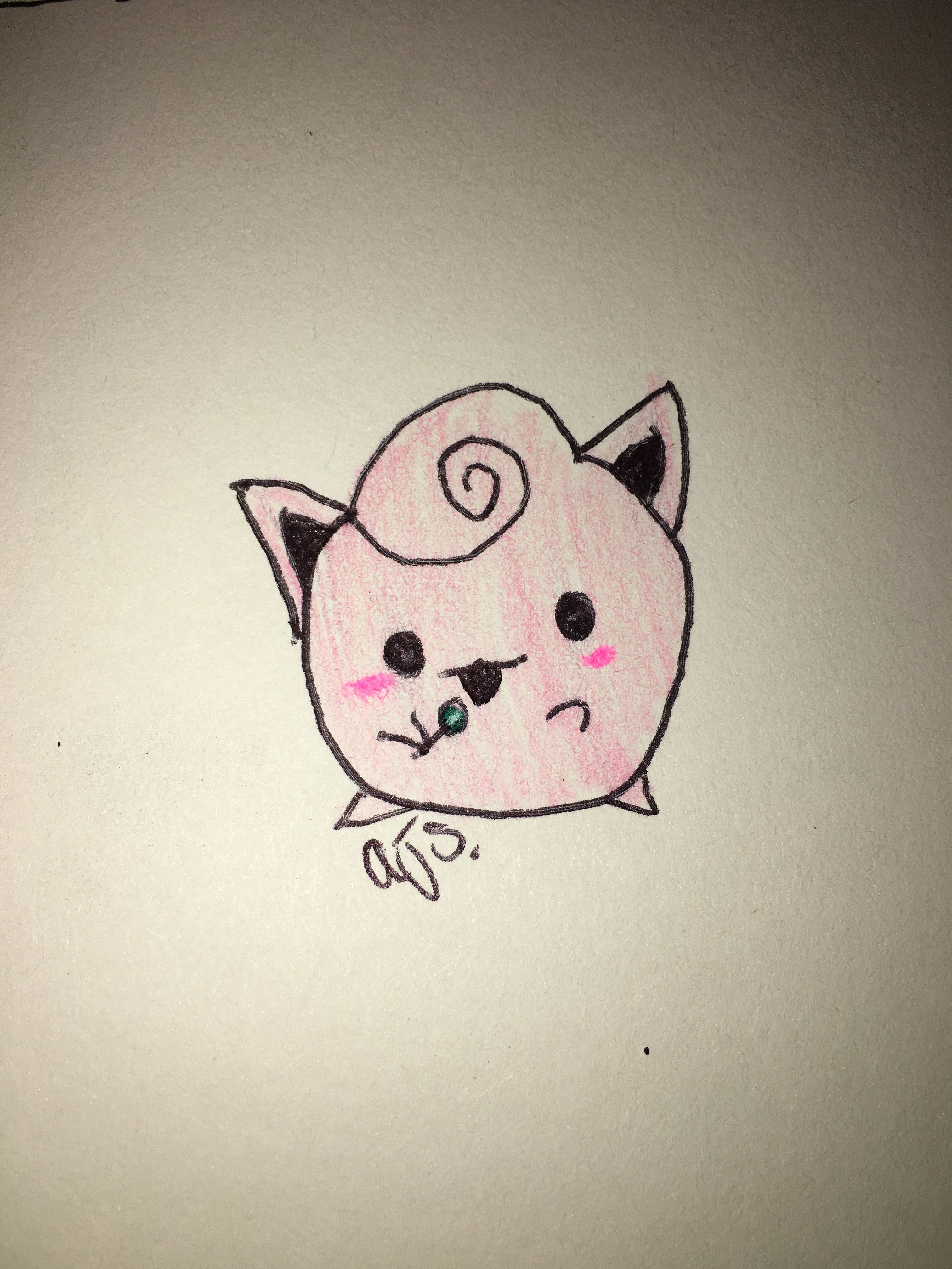 Jigglypuff drawing I did. I know my drawing sucks rate it 1-10