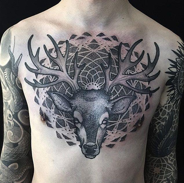 Geometric Stag Tattoo On Chest By Erik Jacobsen @ Dark Age