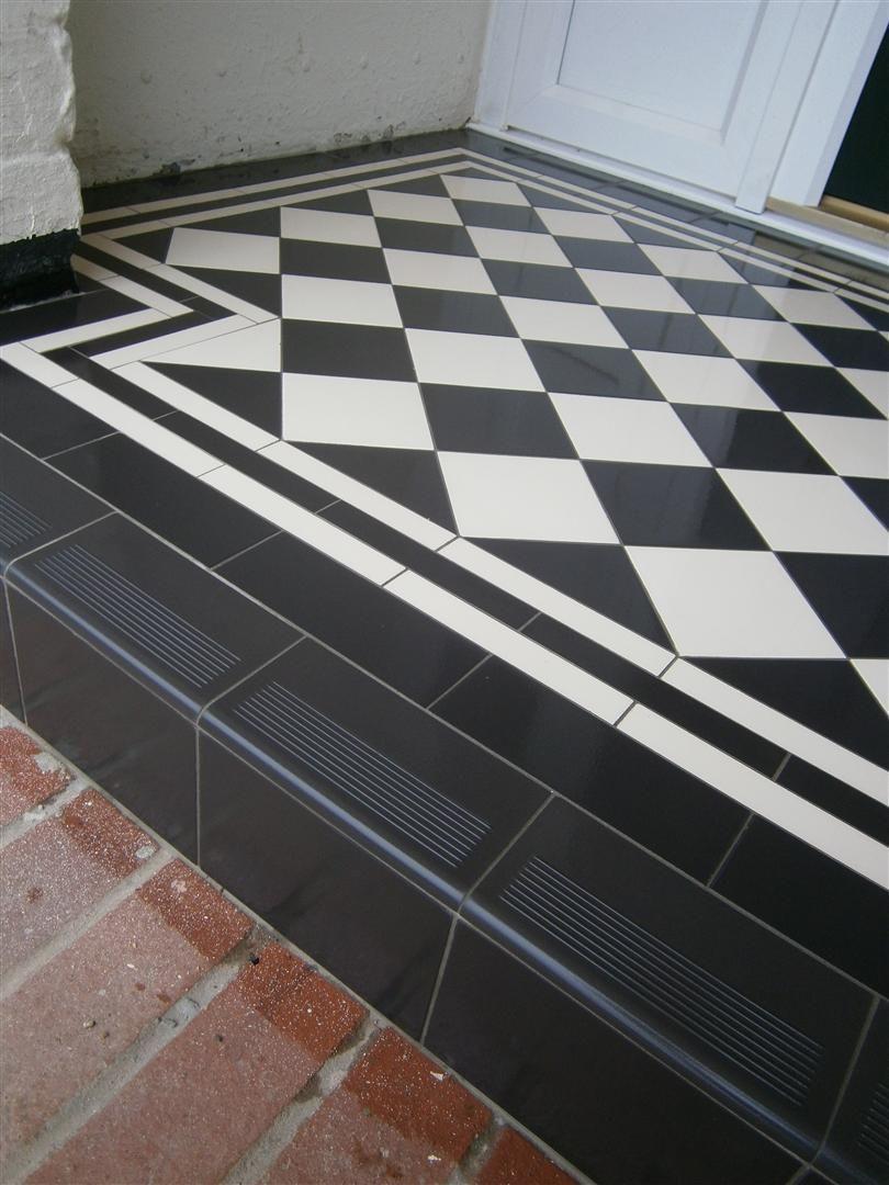 20 Black Front Door Designs For An Elegant Looking Living Space Porch Tile Tiled Hallway Porch Flooring
