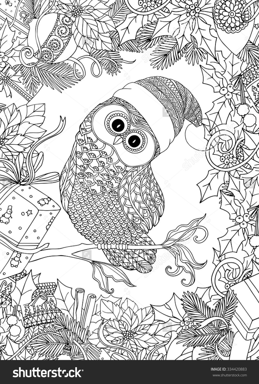 Coloring pages for adults cute - Coloring Book For Adult And Older Children Coloring Page With Cute Owl In Santa Claus Cap And Christmas Wreath Frame Outline Drawing In Zentangle Style
