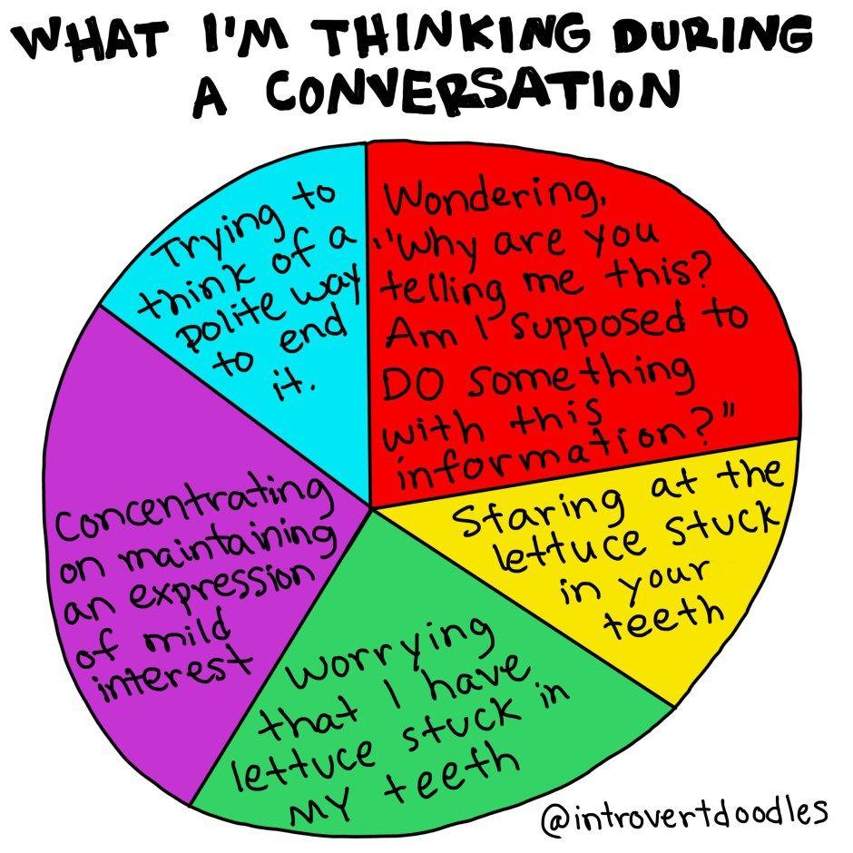 Conversation pie chart   Introvert doodles   Introvert